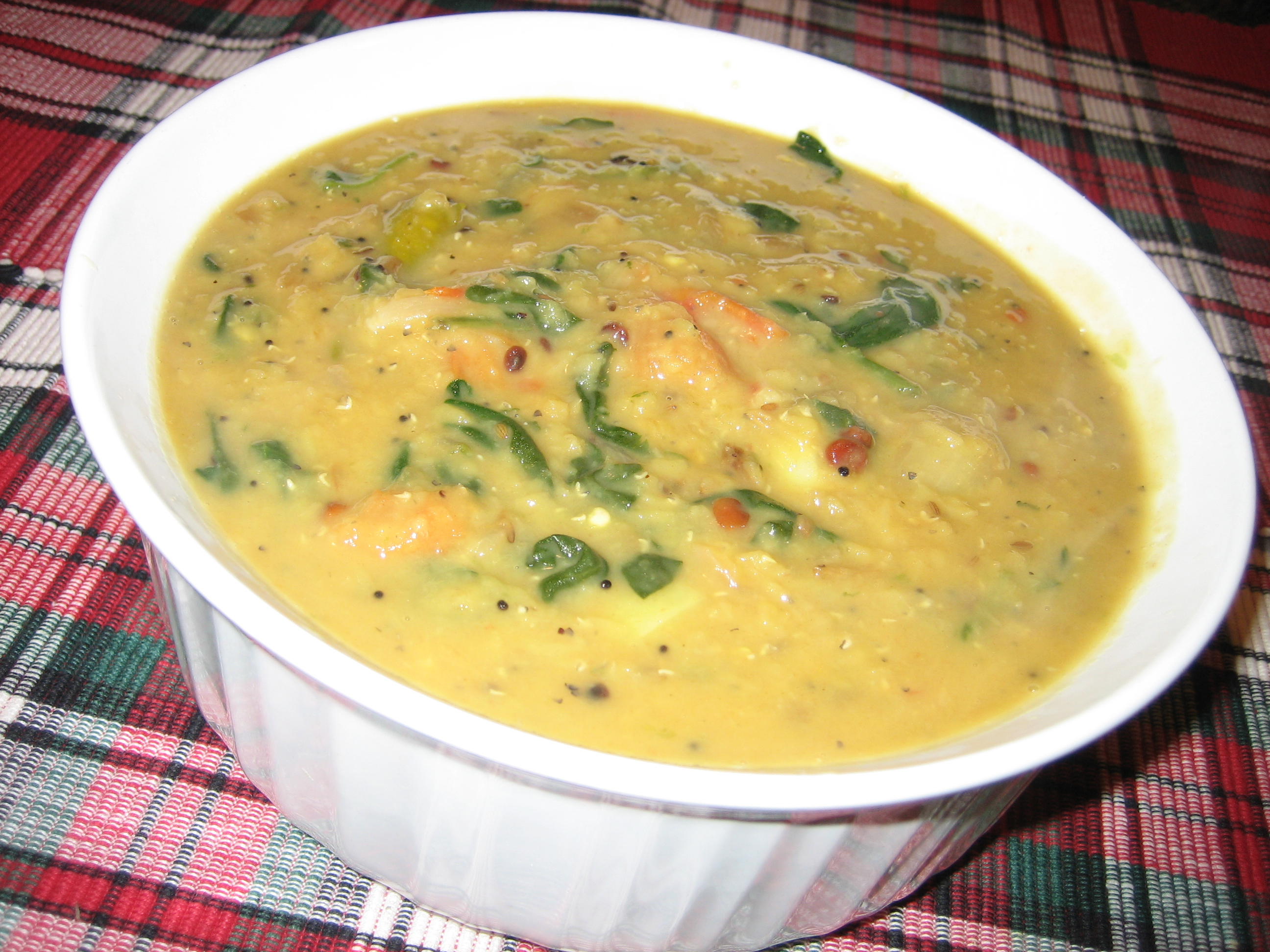 Simple spinach masoor dal