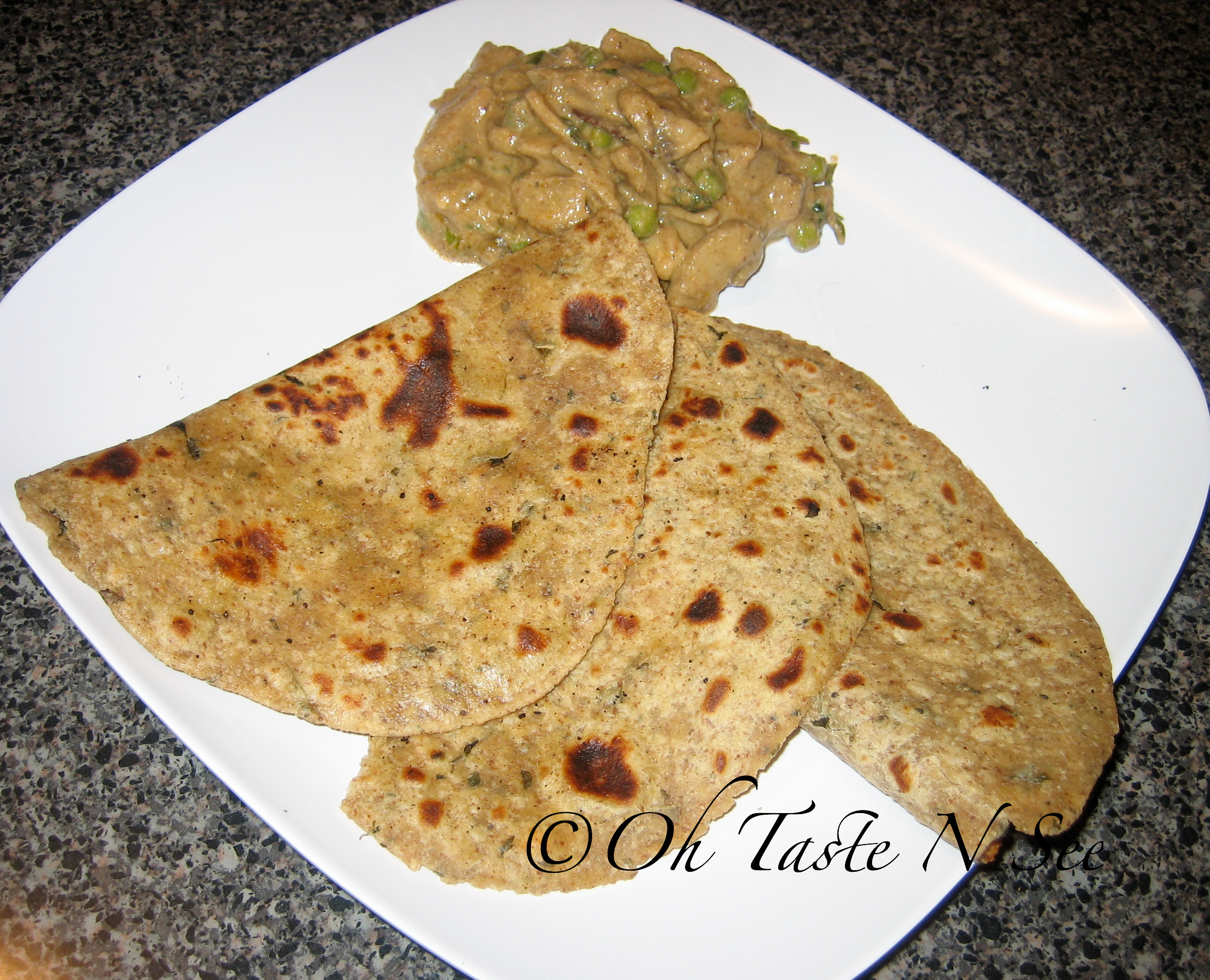 Multigrain chapatis with Mushroom Badami Curry