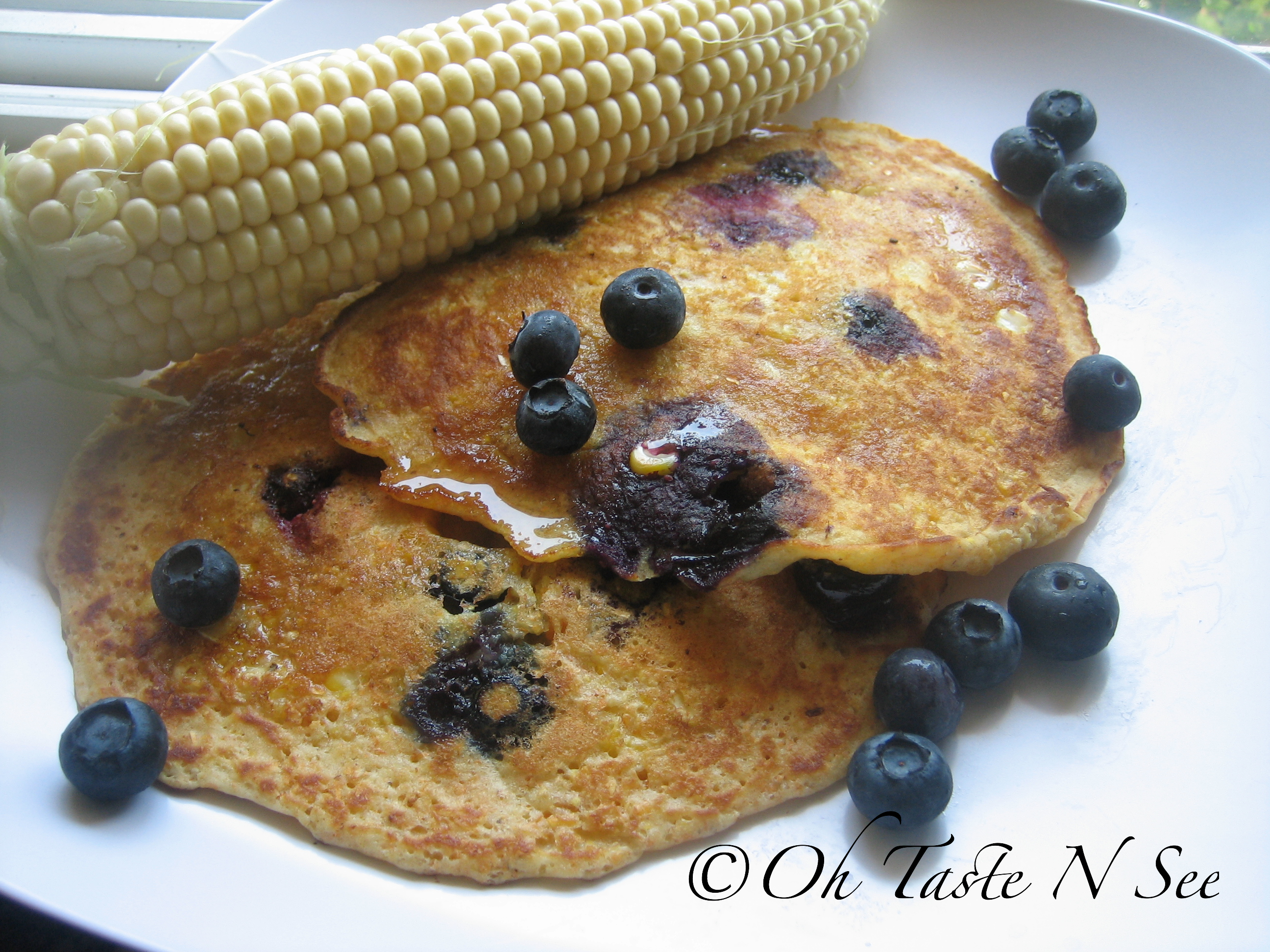 Sweet corn and blueberry pancakes 2