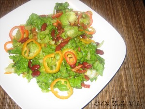 Red kidney bean salad with sun dried tomatoes and mini peppers