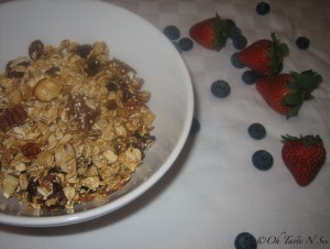 Home made granola with oats, flax and quinoa