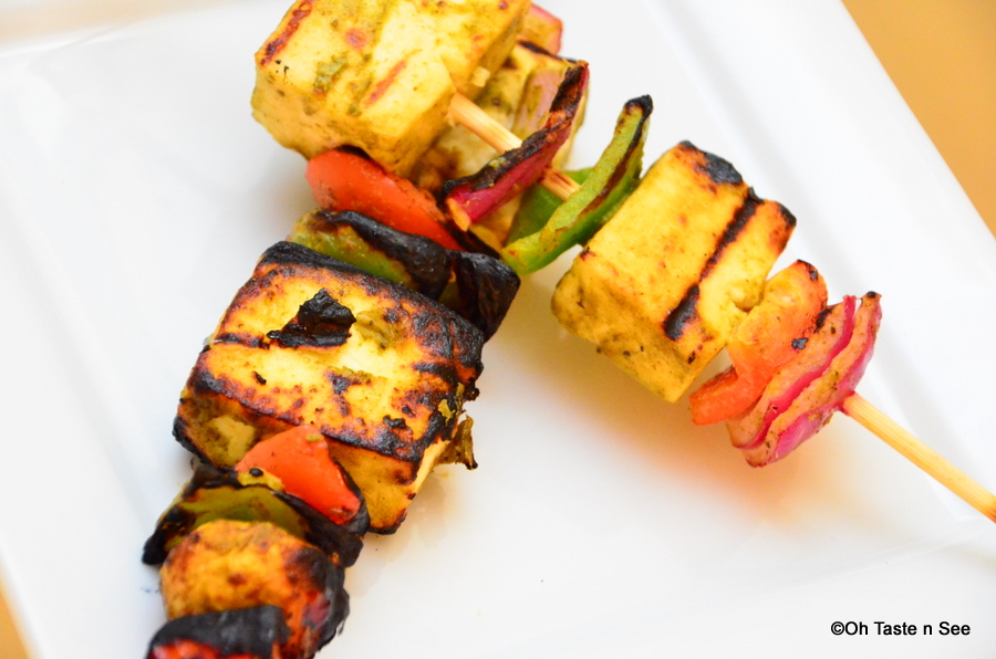 Grilled Paneer and Veg Tikkas