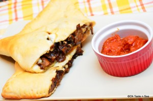 caramelized onion and mushroom calzone 4