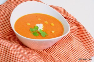Roasted red pepper and chickpea soup 4