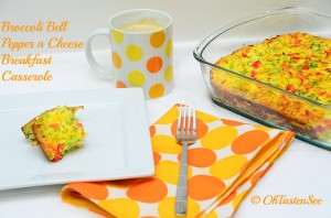 Broccoli pepper and cheese Breakfast casserole