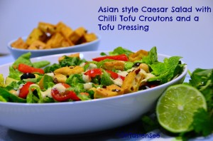 Asian style Caesar Salad with Chilli Tofu Croutons and Tofu Dressing
